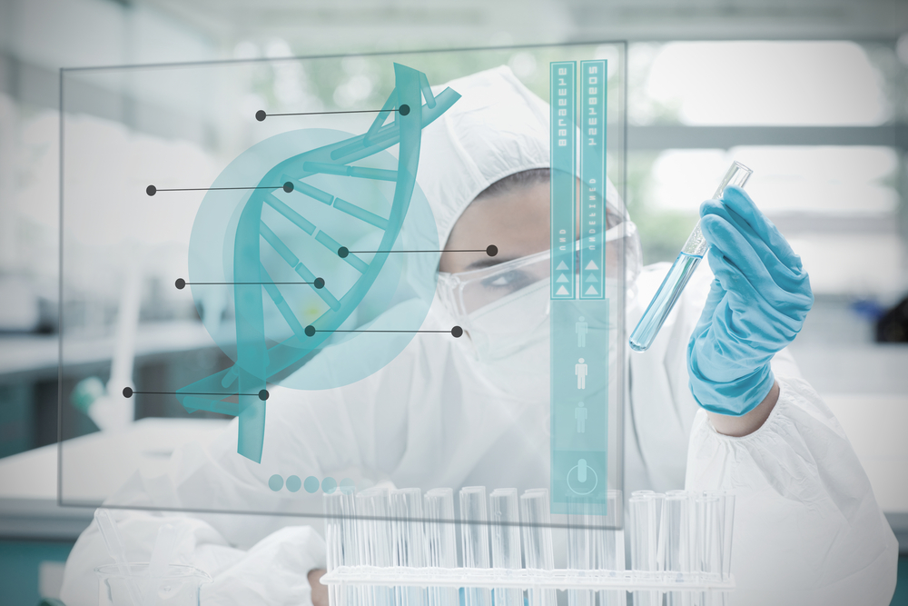 Woman conducting scientific research for biotechnology
